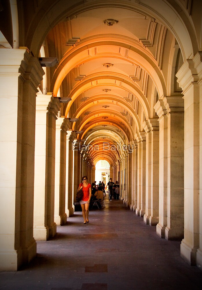 Walking through the arches at the Melbourne GPO by Elana Bailey