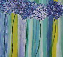 Hydrangeas and Stripes by Christine Clarke