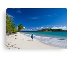 Woman in Blue on Sandy Beach Canvas Print