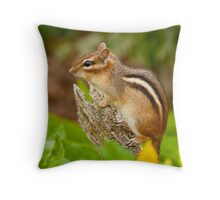 Chipmunk on Log Throw Pillow