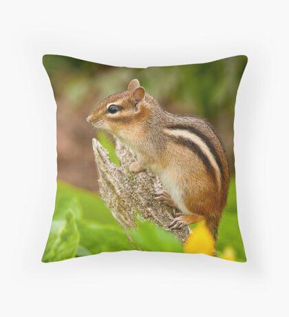 Chipmunk on Log Throw Pillow