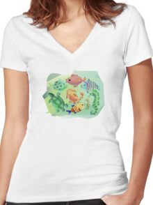 Sea Creatures Women's Fitted V-Neck T-Shirt