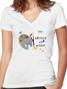 Artist At Work Women's Fitted V-Neck T-Shirt