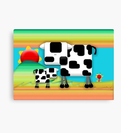 Moo Cow Sunrise Family Canvas Print