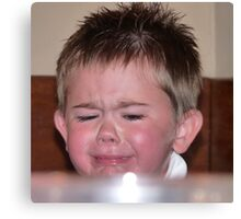 Tears flowing from this unhappy little chappie Canvas Print