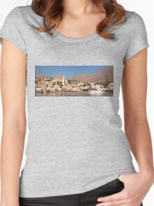 Chalki Harbour Front Women's Fitted Scoop T-Shirt