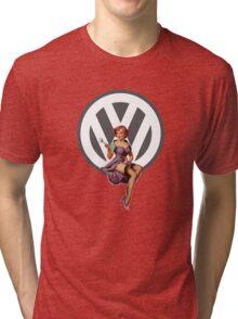Volkswagen Pin-Up Wrenching Wanda (gray) Tri-blend T-Shirt