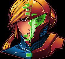 Samus Aran Metroid Zero Suit Face Split by pierceistruth