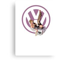 Volkswagen Pin-Up Chatty Cathy (purple) Canvas Print