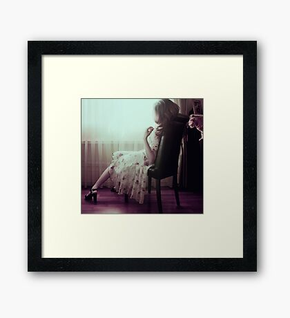 woman with cat Framed Print