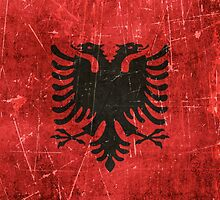 Vintage Aged and Scratched Albanian Flag by Jeff Bartels