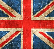 Vintage Aged and Scratched British Flag by Jeff Bartels