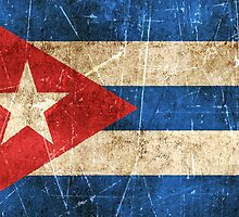 Vintage Aged and Scratched Cuban Flag by Jeff Bartels