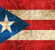 Vintage Aged and Scratched Puerto Rican Flag by Jeff Bartels