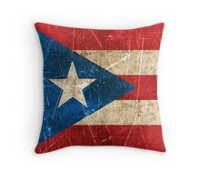 Vintage Aged and Scratched Puerto Rican Flag Throw Pillow