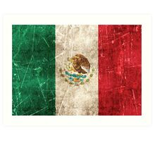 Vintage Aged and Scratched Mexican Flag Art Print