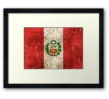 Vintage Aged and Scratched Peruvian Flag Framed Print