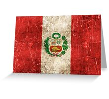 Vintage Aged and Scratched Peruvian Flag Greeting Card