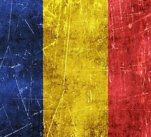 Vintage Aged and Scratched Romanian Flag by Jeff Bartels