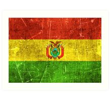 Vintage Aged and Scratched Bolivian Flag Art Print