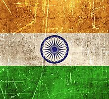 Vintage Aged and Scratched Indian Flag by Jeff Bartels