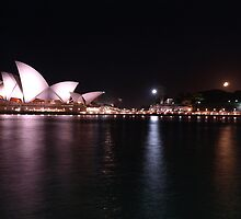 Half Moon over Sydneys Iconic Opera House by Mariebel Ferro