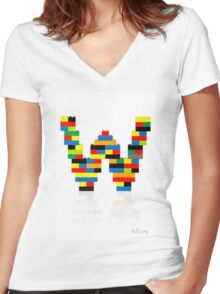 """W"" Women's Fitted V-Neck T-Shirt"