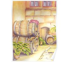 Wine Barrels in Courtyard Poster