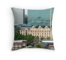 Cruise Ship Reflection in Glass Skyscraper. Throw Pillow