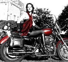 English bike girl at Powderham Castle by Jana Sebastian