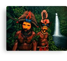 Huli men in the jungle of Papua New Guinea Canvas Print