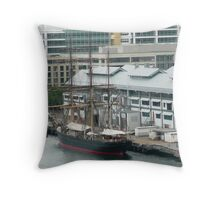 A Replica of the Bounty at the docks in Sydney. Throw Pillow