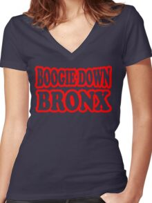 Boogie Down Bronx Women's Fitted V-Neck T-Shirt