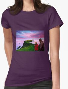 Lighthouse at Mykines Faroe Islands Painting Womens Fitted T-Shirt