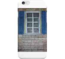 Pastel drawing blue shutters and bricks iPhone Case/Skin