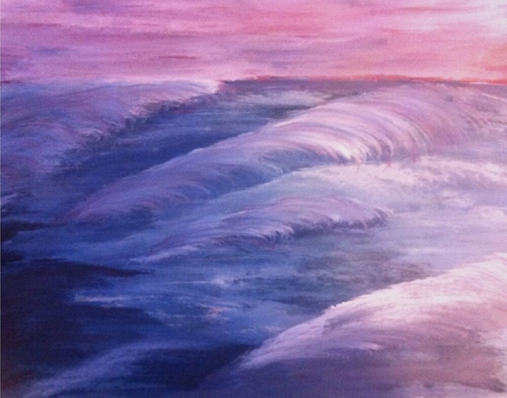 Ocean waves purple blue acrylic painting by Melissa Goza