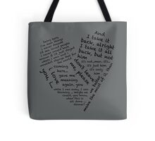 Quotes of the Heart - Janto (Black) Tote Bag