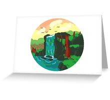 Pixel Waterfall Greeting Card