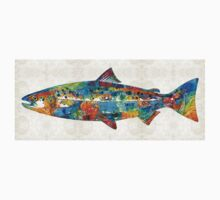 Fish Art Print - Colorful Salmon - By Sharon Cummings One Piece - Long Sleeve