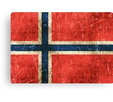 Vintage Aged and Scratched Norwegian Flag Canvas Print