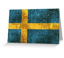 Vintage Aged and Scratched Swedish Flag Greeting Card