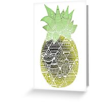 Pineapple: Gold/Green/White Greeting Card