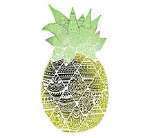 Pineapple: Gold/Green/White Photographic Print