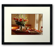 Breakfast with morning reflection  Framed Print