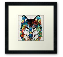 Wolf Art Print - Hungry - By Sharon Cummings Framed Print