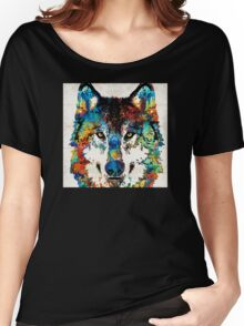 Wolf Art Print - Hungry - By Sharon Cummings Women's Relaxed Fit T-Shirt