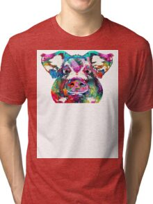 Colorful Pig Art - Squeal Appeal - By Sharon Cummings Tri-blend T-Shirt