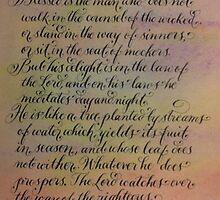 Psalm 1 inspirational verses handwritten art by Melissa Goza