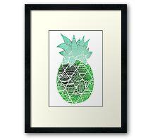 Pineapple: Green/Blue/White Framed Print