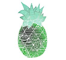 Pineapple: Green/Blue/White Photographic Print